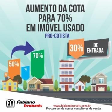"""""""Pró-Cotista"""", elevado de 50% para 70% a cota de financiamento para imóveis usados."""
